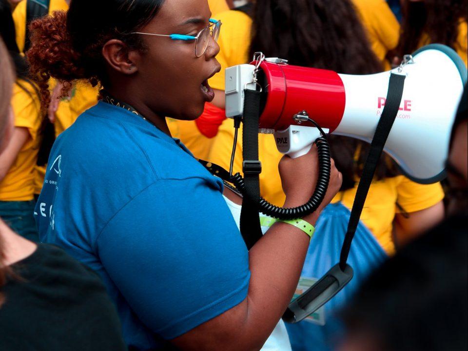 Student speaking in megaphone